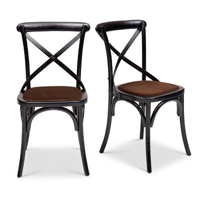 Gesele Upholstered Dining Chair Frame Color: Black, Upholstery Color: Brown