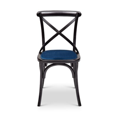 Gesele Upholstered Dining Chair Frame Color: Black, Upholstery Color: Blue