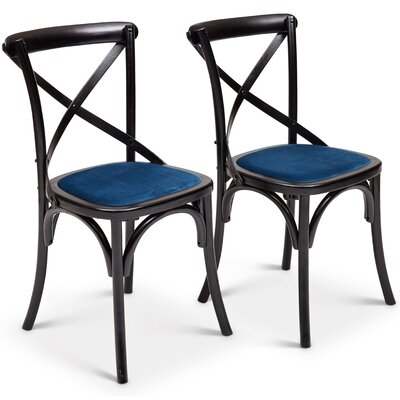 Gesele Upholstered Dining Chair Frame Color: Blue, Upholstery Color: Blue