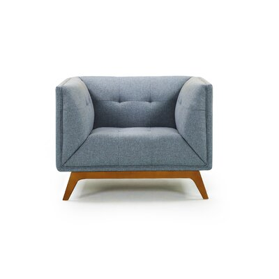 Emilie Wood Club Chair Upholstery: Blue