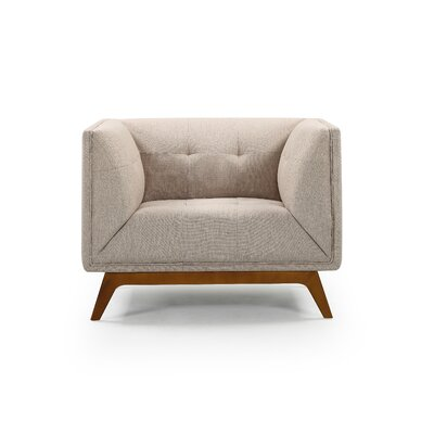 Emilie Wood Club Chair Upholstery: Natural