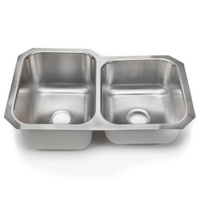 Clark 18 Gauge 32 x 21 Double Basin Undermount Kitchen Sink