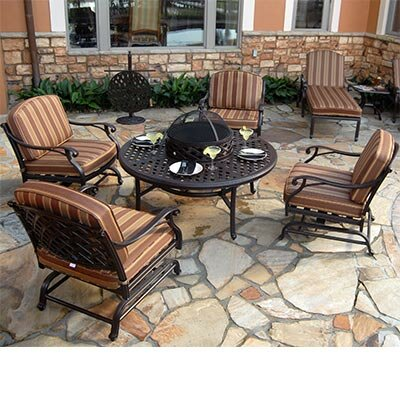 Laneon 7 Piece Fire Pit Seating Group with Cushions