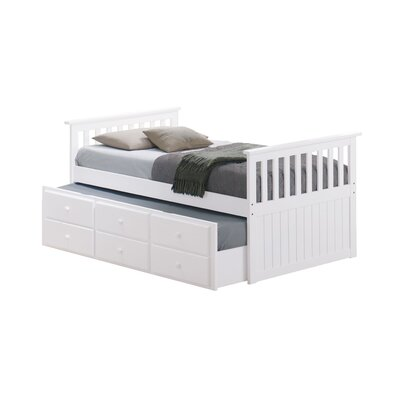 Marco Island Captains Bed with Trundle Bed and Drawers Color: White, Size: Twin