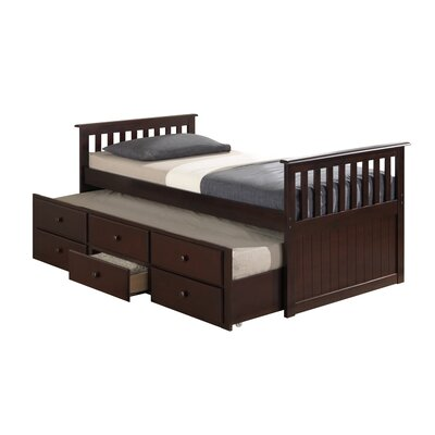 Marco Island Captains Bed with Trundle Bed and Drawers Color: Espresso, Size: Twin