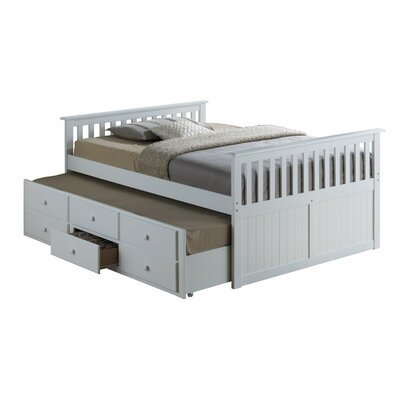 Marco Island Captains Bed with Trundle Bed and Drawers Color: White, Size: Full