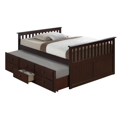 Marco Island Captains Bed with Trundle Bed and Drawers Color: Espresso, Size: Full