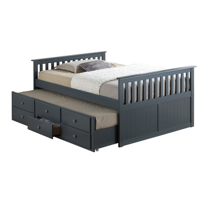 Marco Island Captains Bed with Trundle Bed and Drawers Color: Gray, Size: Full