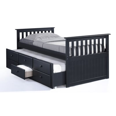 Marco Island Captains Bed with Trundle Bed and Drawers Color: Black, Size: Twin