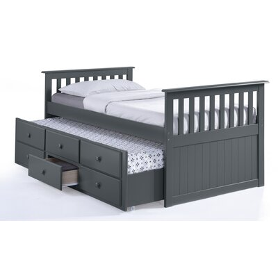 Marco Island Captains Bed with Trundle Bed and Drawers Color: Gray, Size: Twin