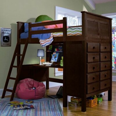 McKenzie Twin Loft Bed with Dresser Finish: Coffee