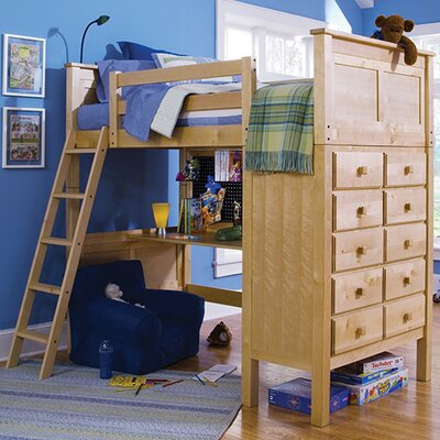 McKenzie Twin Loft Bed with Dresser Finish: Natural Birch