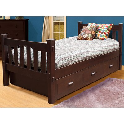 Gabriel Slat Bed with Trundle Color: Coffee