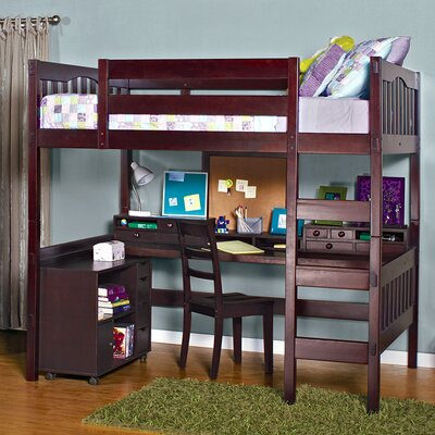 Gabriel Full Loft Bed Finish: Natural Beech, Media Cart: With Media Cart