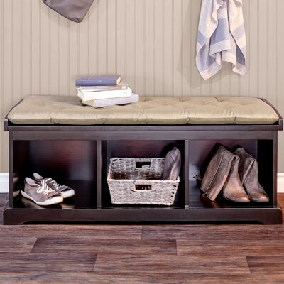 Brookwood Wood Storage Bench Color: Mahogany