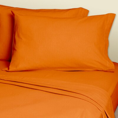 4 Piece 200 Thread Count Sheets Set Color: Orange, Size: Super Single