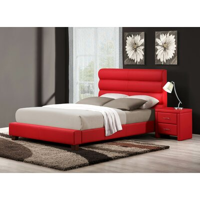 Aven Upholstered Panel Bed Size: Full, Color: Red