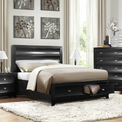Bishopville Panel Bed Finish: Pearl Black, Size: Queen