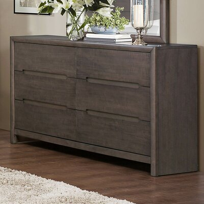 Lavinia 6 Drawer Double Dresser with Mirror