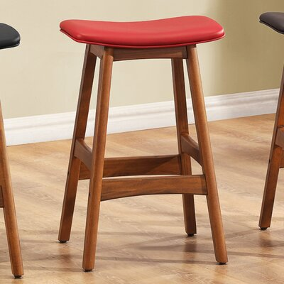 24 Bar Stool (Set of 2) Upholstery: Red