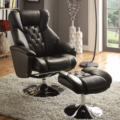 Aleron Swivel Recliner and Ottoman Upholstery: Black