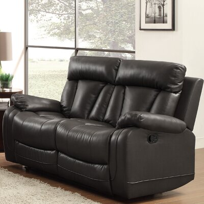 Ackerman Double Reclining Loveseat Upholstery: Black