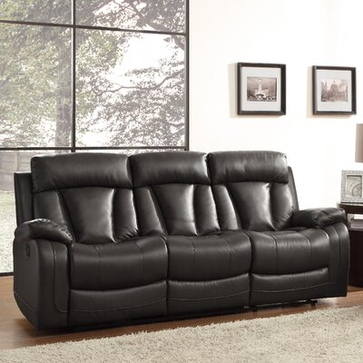 Ackerman Double Reclining Sofa Upholstery: Black