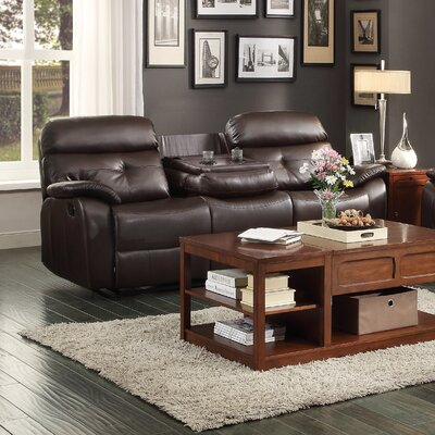 9640-4 HE7017 Woodhaven Hill Evana Double Reclining with Center Drop-Down Cup Holder Sofa