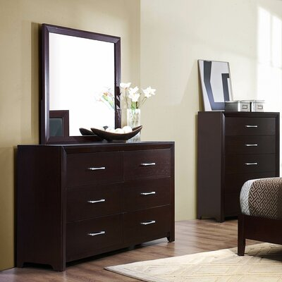 Edina 6 Drawer Double Dresser with Mirror