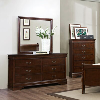 Mayville 6 Drawer Double Dresser with Mirror