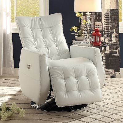 Nadra Swivel Power Recliner Upholstery: White