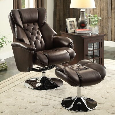 Aleron Manual Swivel Recliner with Ottoman Upholstery: Brown