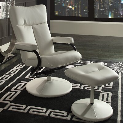 Caius Swivel Recliner and Ottoman Upholstery: White