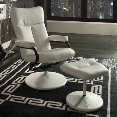 Alida Swivel Recliner and Ottoman Upholstery: White
