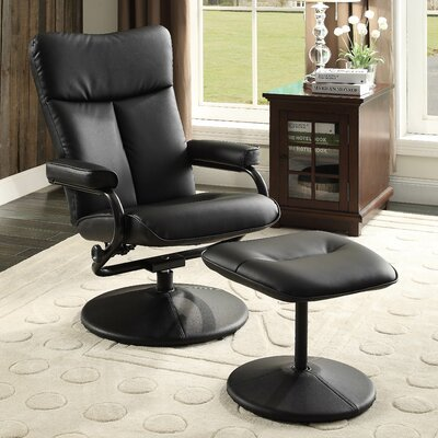 Alida Manual Swivel Recliner with Ottoman Upholstery: Black