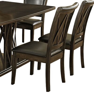 Garvey Upholstered Dining Chair (Set of 2) Upholstery Color: Dark Brown