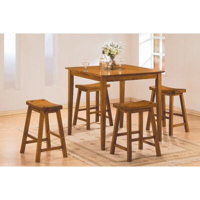 5 Piece Counter Height Pub Set Finish: Oak