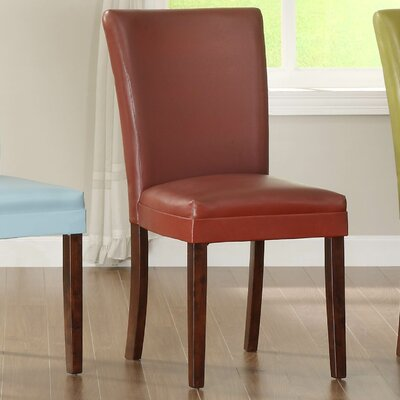 Belvedere Upholstered Dining Chair (Set of 2) Upholstery Color: Lava Red