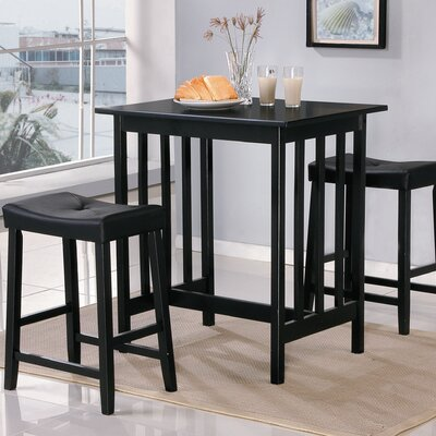 Scottsdale 3 Piece Dining Set Finish: Black