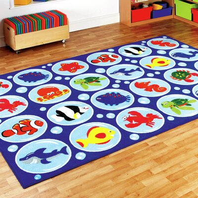 Ocean Life Blue Rectangular Kids Rug