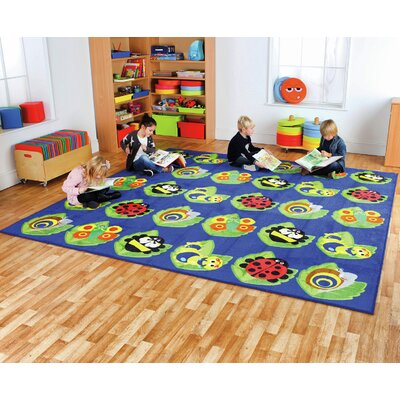 Back to Nature Bug Blue Square Kids Rug
