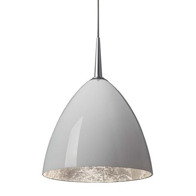 Cleo 1-Light Mini Pendant Finish: Bronze, Shade Color: White with Silver Inner