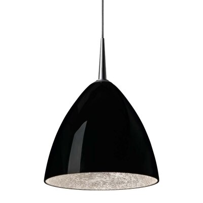 Cleo 1-Light Mini Pendant Finish: Bronze, Shade Color: Black with Silver inner