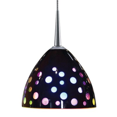 Rainbow II 1-Light Mini Pendant Finish: Matte Chrome, Shade Color: Black Retro