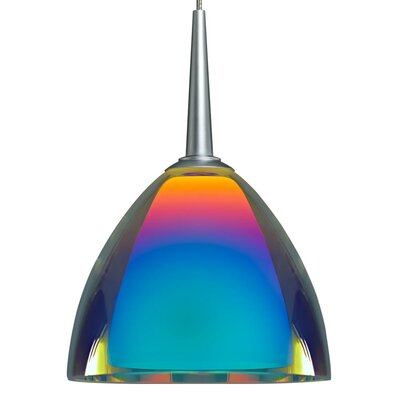 Rainbow II 1-Light Mini Pendant Finish: Matte Chrome, Shade Color: Sunset