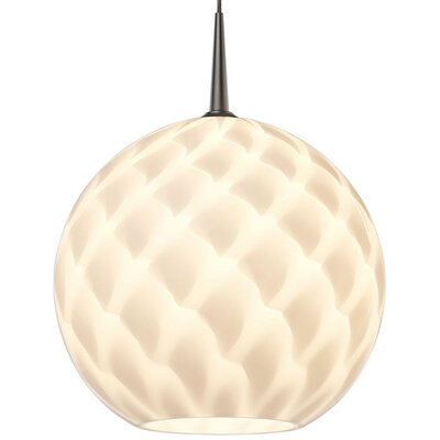 Sirena 1-Light Globe Pendant Color: Bronze, Shade Color: White, Mounting: 4.5 Kiss Canopy