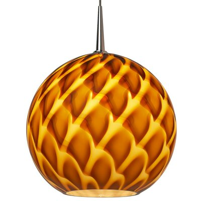 Sirena 1-Light Globe Pendant Color: Chrome, Shade Color: Amber