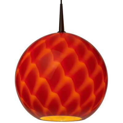 Sirena 1-Light Globe Pendant Color: Bronze, Shade Color: White glass