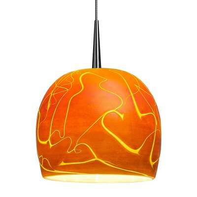 Delta 1-Light Mini Pendant Finish: Bronze, Shade Color: Amber, Mounting: Zonyx matte chrome