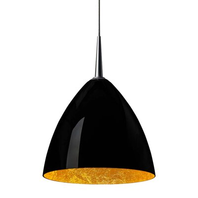 Cleo 1-Light Mini Pendant Color: Matte Chrome, Shade Color: Black with Gold inner, Mounting: No Canopy